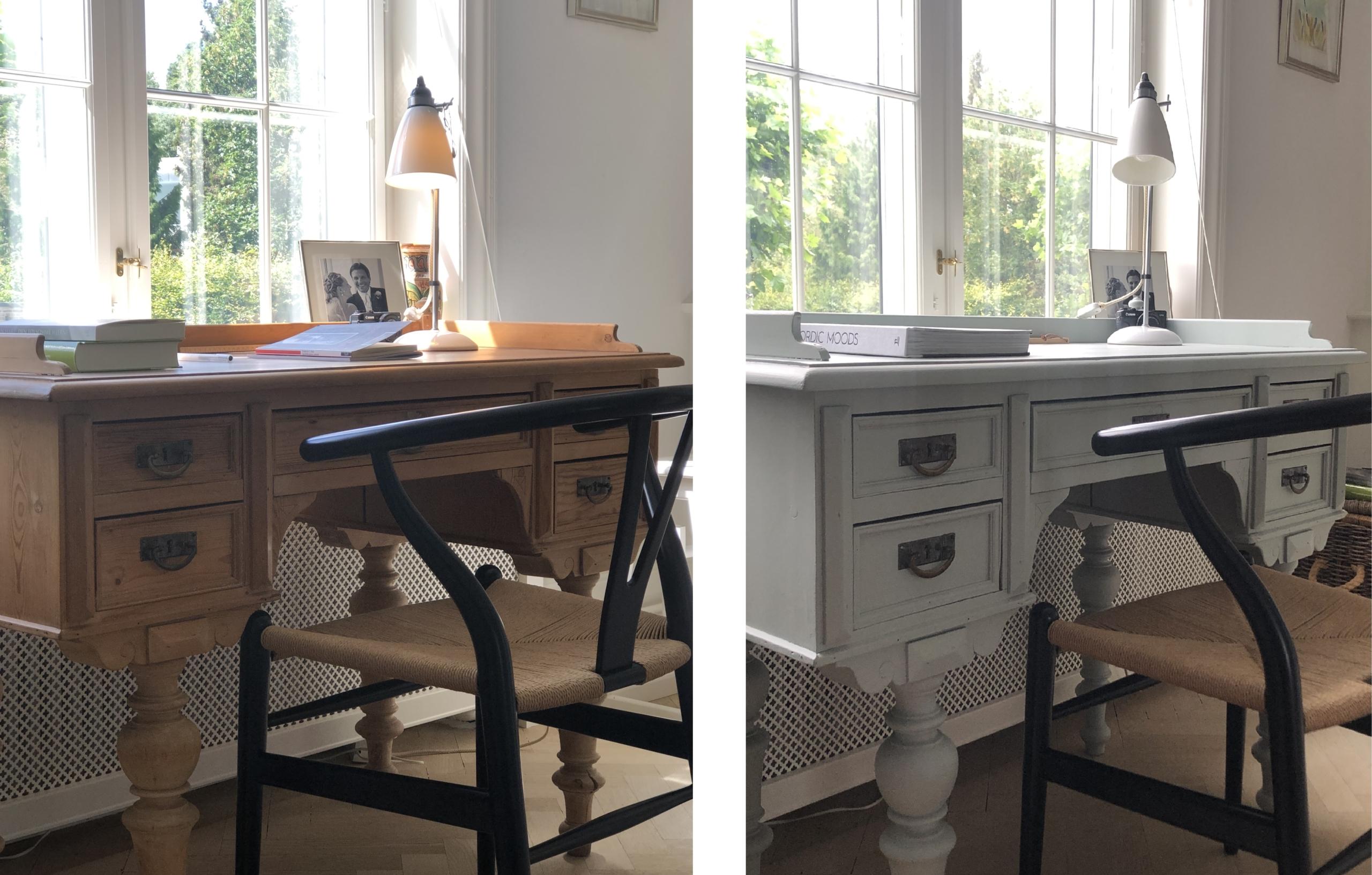 Gammelt skrivebord før og efter maling i en smart farve