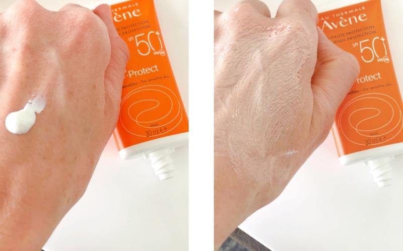 Se, hvordan Avéne B-Protect 50+ skifter farve på huden.